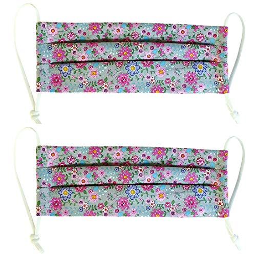 100% Cotton Korean Reusable Washable Adjustable Metal Strip Face Mouth Mask 2 Pack Double Layer Anti-Dust Fashion Outdoor Cloth Cover (Purple Flower)