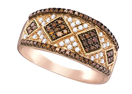 Brandy Diamond Dark Chocolate Brown 10k Rose Gold Luxurious Diamond Shaped Ring 1/2 Ctw.