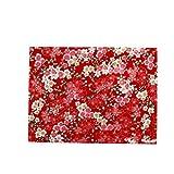 Rancheng 50x150cm Coton Tissu Imprimé Style japonais Tissus au Metres Matériel DIY Couture pour Vêtements Nappe Rideau Patchwork Artisanats tissu a coudre Bricolage #Fleur de cerisier-rouge