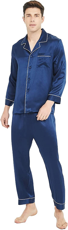 Men's Silk Long-Sleeved Pajamas Set 19momme 100% Soft Mulberry Silk Luxury Models