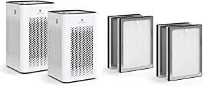 Medify MA-25 Air Purifier with two additional H13 True HEPA replacement Filters | 500 sq ft Coverage | for Smoke, Smokers, Dust, Odors, Pet Dander | Quiet 99.9% Removal to 0.1 Microns | White, 2-Pack