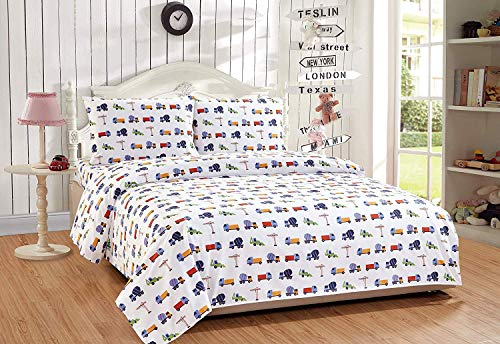 Elegant Home Multicolors Construction Equipment Trucks Cement Mixers Backhoes Design 3 Piece Printed Sheet Set with Pillowcase Flat Fitted Sheet for Boys/Kids/Teens (Construction Blue, Twin Size)