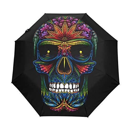 Bigjoke Regenschirm, 3-Fach faltbar, automatischer Öffnung, Tattoo, mexikanisches Totenkopf-Muster, Winddicht, leicht, kompakt für Jungen, Mädchen, Männer, Frauen