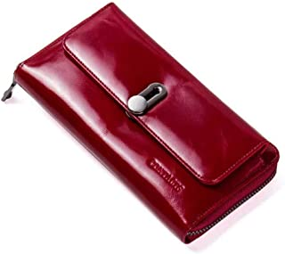 Leather Women's Wallet Casual Leather Multi-Function Zipper Clutch Waterproof (Color : Red, Size : S)