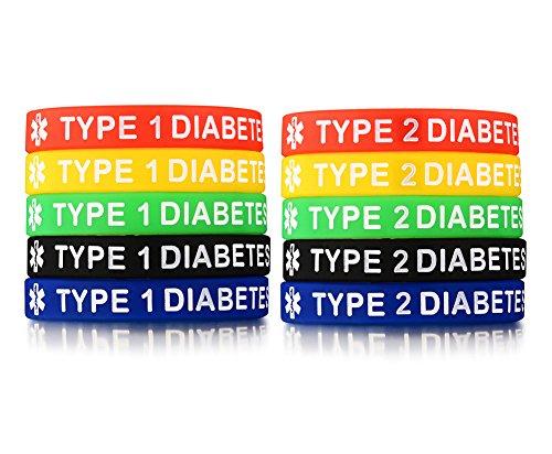 Vnox 10 Pezzi in Gomma siliconica Type 1 Diabetes & Type 2 Diabetes Medical Alert ID Bracciale Wristband,5 Colori