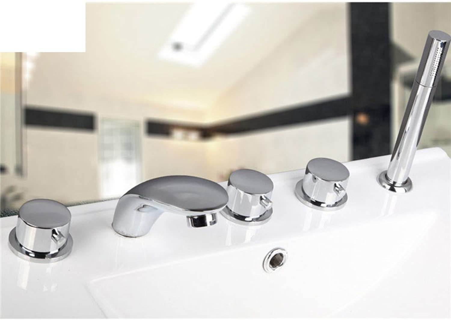 Split-hot and Cold Faucet Bathtub faucets with Five Piece of Cover Five-Hole Faucet hot and Cold Waterfall showerhead-F