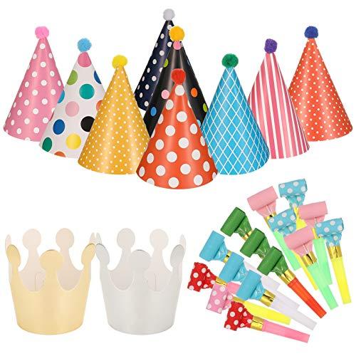 SUSSURRO 11pcs Chapeaux de cône de fête d'anniversaire avec Pompons et 15pcs Sifflet colorées de fête pour Anniversaire Noël Fête d'enfants Halloween Nouvel an