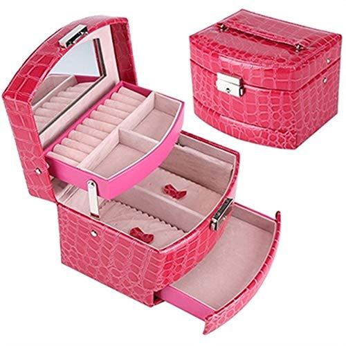 Organizador de maquillaje para mujer, organizador de maquillaje, caja de almacenamiento de 3 capas, caja de joyería de cuero, caja de regalo automática (color: rojo)