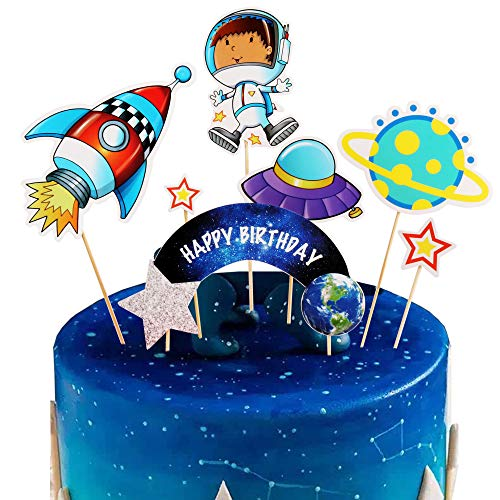 Artczlay Space Theme Happy Birthday Cake Topper Astronaut Rocket Cake Topper Child Birthday Party Decoration Item 7 Pack