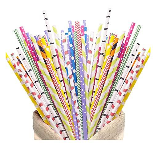 200 3D Cannucce , 5 diversi stili di Cannucce di Carta, per i Cocktail Party, Accessori Decorativ Feste e Party Feste, Matrimoni, Compleanni di Nascita, Natale (Colore)