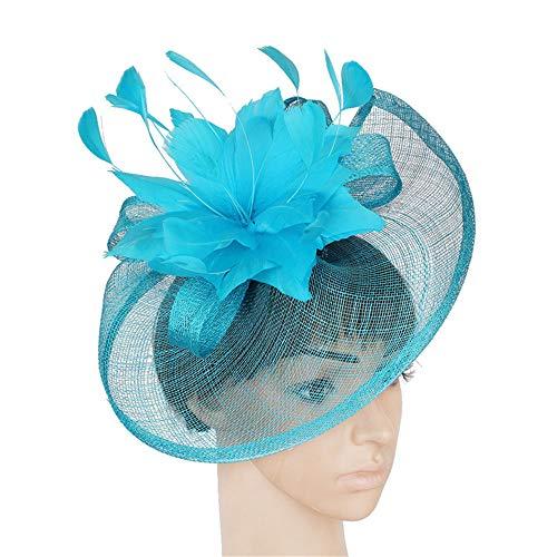 HUIO Coiffe Bandeau de Plumes de Fleurs Coiffe de Mariage Championnat des Femmes Cocktail Party Derby Hat pour Femme (Color : Blue)
