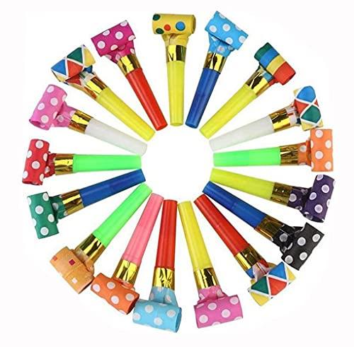 ericotry 100 Stück Party-Luftbläser-Hörner bunte Geburtstagspfeifen Geräuschmacher Spielzeug für Geburtstagsparty Neujahrsparty Gastgeschenke (zufällige Farbe)