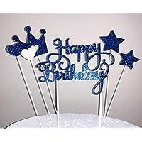 Topper De DecoraciÓN De Pastel Hecho A Mano Con Brillo De 6 Cuentas Para Pastelito Y Helado - Feliz Cumpleaños Con Brillo Azul Oscuro Conjunto