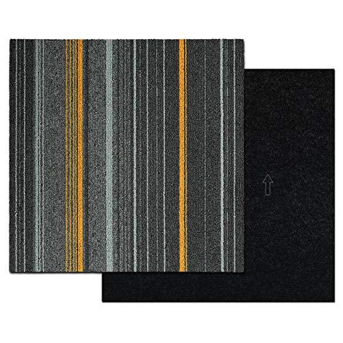 Teppichfliesen Paris | Selbstliegend | Robust & pflegeleicht | Bodenbelag für Büro und zu Hause | Streifendesign (50 x 50 cm, Anthrazit)