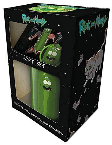 Cartoon Network GP85196-Geschenkset, mehrfarbig, 315 ml, Morty-Pickle Rick Tasse, Untersetzer und Schlüsselanhänger, mehrfarbig