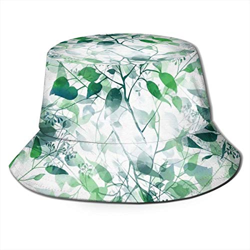 out Unisex Packable Fischerhüte Sonnenhüte Imprints of Eucalyptus Leaves Silhouette Summer Herren Damen Fishing Sun Hat Hunting Boonie Hat for Herren Damen Men