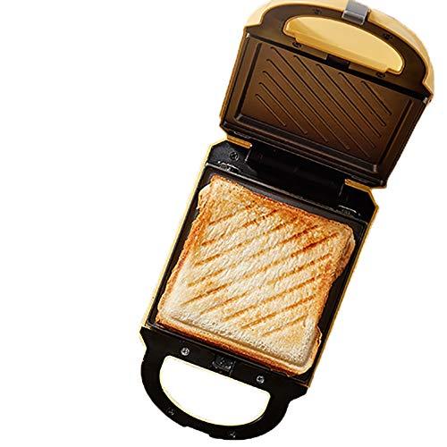 WXLSQ Sided-Doble Mini sandwichera Calefacción Tostadora Wafflera Revestimiento Antiadherente fácil de Limpiar, multifunción Doble de tamaño del sartén Desayuno Pan 460W Luz Naranja