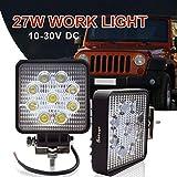 Safego 27 W Projecteur LED Lampe de travail Lampe 12 V 24 V Offroad haute puissance...