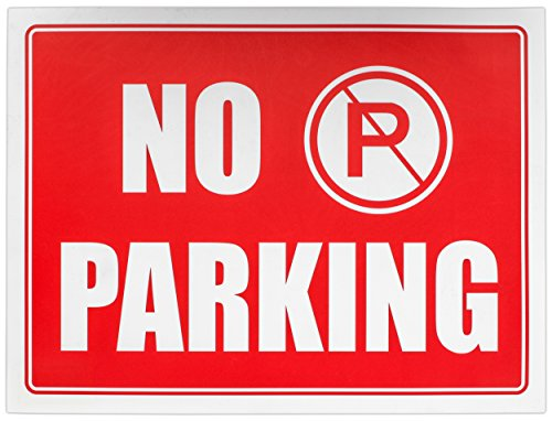 """Ram-Pro NO PARKING Sign - 9"""" High x 12"""" Wide Red on White Reflective Plastic Signs for Driveway, Personal Parking Space (Pack of 4) Photo #3"""