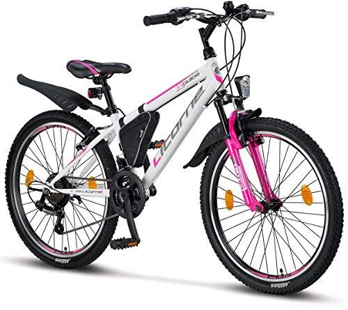 Licorne Bike Guide Premium Mountainbike in 24 Zoll - Fahrrad für Mädchen, Jungen, Herren und Damen - Shimano 21 Gang-Schaltung - Weiß/Rosa