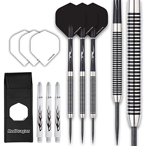 RED DRAGON Pegasus Tungsten Steel Darts Set - 24 Gram - Black Stems and Black Flights