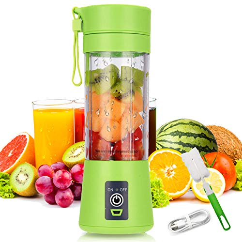 USB Rechargeable Creative Design Portable Blender, Personal Size Blender Shakes and Smoothies Juicer Cup-Six Blades in 3D,Handheld Fruit Machine (Green)