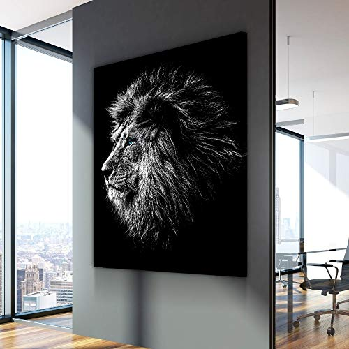 TLLZSH Print The Painting On The Canvas Nordic Wall Picture Blue Eyed Lion Animal Poster Modern Decorative Paintings On Canvas Wall Art for Home Decorations Wall Decor 60×90Cm