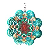 FONMY Stainless Steel Wind Spinner-3D Indoor Outdoor Garden Decoration Crafts Ornaments 6Inch Multi Color Mandala Flower Wind Spinners