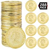 Big Mo's Toys Gold Coins- Fake Shiny Golden Plastic Play Coin Tokens Party Props Supplies - Bulk Pack of 288
