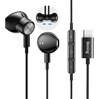 USB C Headphones, Biming Type C Earbuds USB C Earphones with Mic & Volume Control Headphone for Google Pixel 4/3/2/XL,iPad Pro 2018, OnePlus 6T,Essential Phones,Sony XZ2,MacBook and More