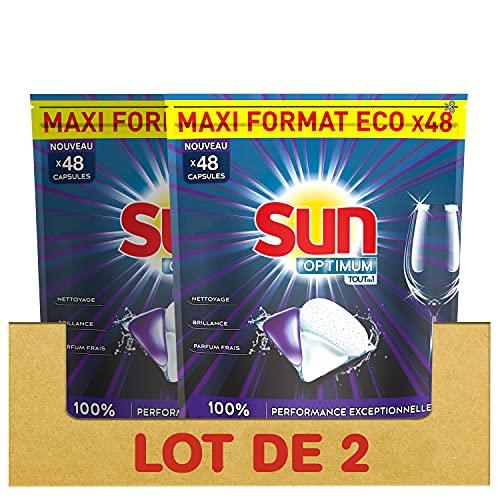 Sun Optimium - Cápsulas lavadoras de lavavajillas todo en 1, limpieza profunda, acción decreciente, 96 lavados (lote de 2 x 48 lavadas)