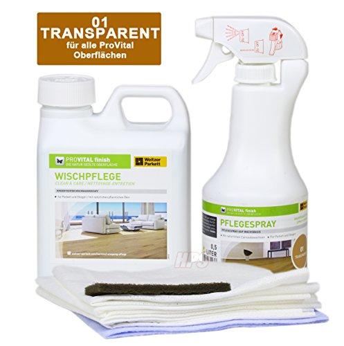 Weitzer Parkett PROVITAL Pflegeset für geöltes Parkett. Pflegespray + Wischpflege + Auftragstücher