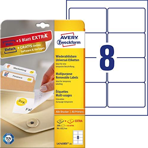 AVERY Zweckform L4745REV-25 Universal-Etiketten (96 x 63,5mm auf DIN A4, wieder rückstandsfrei ablösbar/abziehbar, bedruckbar, selbstklebend, 200 Klebeetiketten Plus 40 Etiketten extra, 30 Blatt) weiß