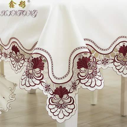 CRTTRC Europa Luxus bestickte Tischdecke Tisch Esstisch Abdeckung Tischtuch Hochzeit 213 Rote Blume Stuhlabdeckung Heimtextilien (Color : Burgundy, Specification : 1pcs Chair Cover Set)