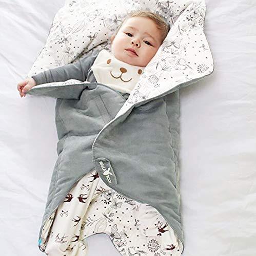 Wallaboo Einschlagdecke Leaf für Babyschale, Autokindersitz, für Kinderwagen, Buggy, Babybett, Schönen Blumenform, Veloursleder und Baumwolle, 85 x 85 cm, 0 - 12 Monaten, Farbe: Grau