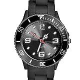 Taffstyle Farbige Sportuhr Armbanduhr Silikon Sport Watch Damen Herren Kinder Analog Quarz Uhr 43mm Schwarz