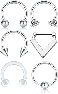 JFORYOU 316L Surgical Steel Septum Piercing Nose Rings Hoop Cartilage Tragus Retainer Body Piercing Jewelry 8MM 16G