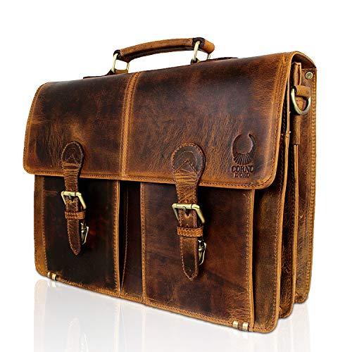 Corno d´Oro Aktentasche aus Büffel Leder I Schultertasche & Umhängetasche im Vintage Look I Business Aktentasche + Laptoptasche Braun bis 15.6 Zoll für Damen und Herren CD09A