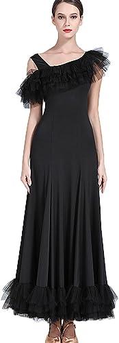 Costume de Perforhommece de Jupe de Danse Moderne pour Femme Robes de Compétition Professionnelle Norme Nationale Tenue de Danse de Salon Epaule Oblique sans Bretelles