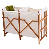 PROSPERLY U.S. Product Household Folding Bamboo Frame Laundry Hamper Clothes Storage Basket Bin W/2 Bag