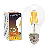 Tengyuan クリア電球 60W形相当 E26口金 フィラメント LED電球 8W 電球色 800lm クリアタイプ エジソンランプ レトロ電球 A60 E26 360度発光 【1個入り】