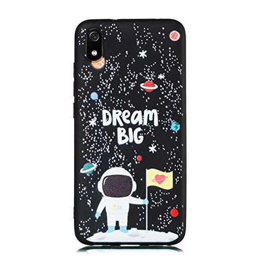 ChoosEU Compatible con Funda Xiaomi Redmi 7A Silicona Negro Dibujos Creativa Carcasas para Chicas Mujer Hombres Dibujos Astronauta Universo Espacio Case Antigolpes Caso Protección - Astronauta
