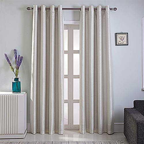 GYROHOME Faux Silk Blackout Curtains, Fully Lined Solid Color Window Treatment Drapes for Bedroom and Living Room Thermal Insulated Grommet Top Room Darkening Drapes, (Beige, 52x108, 2 Panels)