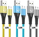 Micro USB Cable, 10FT Android Charger Cable Fast Charging Cord 3Pack Long Charging Cables Nylon Charger Cord for Samsung Galaxy S7 Edge S6 S5 J7 J7V J5 J3 J3V Note 5, LG K40 K20, Moto G5, PS4, Tablet