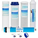 """Geekpure Universal Compatible 5 Stage Reverse Osmosis Replacement Filter Set with 100 GPD Membrane -10 Inch 7 Universal Compatible standard 10"""" reverse osmosis replacement filter cartridges,size:2.5""""OD x 10"""" height,Fits almost standard sized 5 or 6 stage reverse osmosis systems Pack of 8-Includes (1)PP Sediment ,(1)Gruanlar Activated Carbon ,(1) Carbon Block Filter,(1)100 GPD Reverse Osmosis Membrane, (1) Post inline Carbon Filter.(2) 1/4""""NPT quick fittings, (1) Roll Teflon seal tape.NOTE: THE LAST STAGE POST CARBON IS 1/4""""NPT THREAD INLET AND OUTLET NSF certificated RO membrane filters down to 0.0001 micron,Reduce 99% contaminant ,including Heavy Metal Arsenic,Lead,Mercury,Fluoride,Hardness,Cadmium,Chlorine,Taste and more 1000+ contaminants to provide healthy, safe and pure water"""