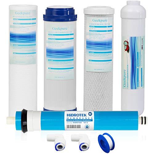 Geekpure - Juego de filtros de ósmosis inversa universales de repuesto (1 sedimento, 1 carbón granular, 1 bloque de carbono, 1 membrana de 100 GPD, 1 filtro de carbón postal, total 5 unidades)
