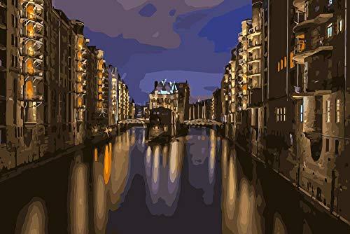 DIY Pintar por númerosHamburgo Ciudad Noche Paisaje Pintura Colorear decoración del hogar Pintura 40x50cm Sin Marco