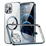 RESTONE Clear Silicone Case for iPhone 12 Pro with Mag-safe, Slim Fit Magnetic Back Cover Soft TPU Electro-plating Bumper, Thin Cute Camera Lens Shockproof Protective Case for i-Phone 12 Pro 6.1, Navy