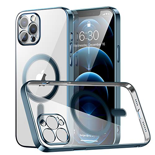 RESTONE Clear Silicone Case for iPhone 12 Pro Max with Mag-Safe, Slim Fit Magnetic Back Cover Soft TPU Electro-Plating Bumper, Thin Cute Camera Shockproof Protective Case for i-Phone 12 Promax, Navy