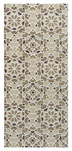 All Design Mats Cushioned Non-Slip/Rubber Medallion Damask Design Brown Color Aqua Runner/Doormat, Easy Cut to fit in Your Hallway, Bathroom, or Kitchen with Scissors AQ4000-01-2X5